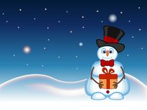 Snowman carrying a gift and wearing a hat and a bow ties with star, sky and snow hill background for your design vector illustrati Royalty Free Stock Photography
