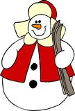 Snowman carrying skis royalty free illustration