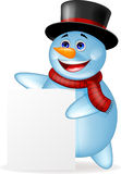 Snowman cartoon with blank sign Royalty Free Stock Image
