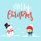 Snowman cartoon character playing snowball fight with the little boy. Royalty Free Stock Image