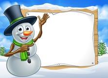 Snowman Cartoon Christmas Sign Royalty Free Stock Photos