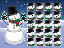 Snowman Cartoon Emotion faces Vector Illustration Stock Images