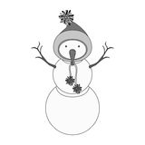 Snowman cartoon icon. Snowman with hat cartoon icon. Merry Christmas season decoration figure theme. Isolated design. Vector illustration Stock Photography