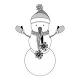 Snowman cartoon icon. Snowman with hat cartoon icon. Merry Christmas season decoration figure theme. Isolated design. Vector illustration Royalty Free Stock Images