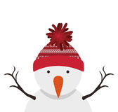 Snowman cartoon icon. Snowman with hat cartoon icon. Merry Christmas season decoration figure theme. Isolated design. Vector illustration Royalty Free Stock Photos