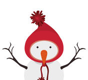 Snowman cartoon icon. Snowman with hat cartoon icon. Merry Christmas season decoration figure theme. Isolated design. Vector illustration Royalty Free Stock Photo