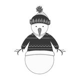 Snowman cartoon icon. Snowman with hat and sweater cartoon icon. Merry Christmas season decoration figure theme. Isolated design. Vector illustration Royalty Free Stock Photo