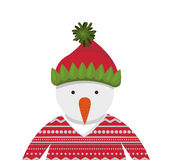 Snowman cartoon icon. Snowman with hat and sweater cartoon icon. Merry Christmas season decoration figure theme. Isolated design. Vector illustration Stock Images