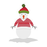 Snowman cartoon icon. Snowman with hat and sweater cartoon icon. Merry Christmas season decoration figure theme. Isolated design. Vector illustration Royalty Free Stock Image
