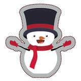 Snowman cartoon of Merry Christmas. Snowman with hat cartoon icon. Merry Christmas season decoration figure theme. Isolated design. Vector illustration Royalty Free Stock Images