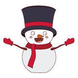 Snowman cartoon of Merry Christmas. Snowman with hat cartoon icon. Merry Christmas season decoration figure theme. Isolated design. Vector illustration Royalty Free Stock Photography