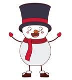 Snowman cartoon of Merry Christmas. Snowman with hat cartoon icon. Merry Christmas season decoration figure theme. Isolated design. Vector illustration Royalty Free Stock Photos