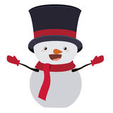 Snowman cartoon of Merry Christmas. Snowman with hat cartoon icon. Merry Christmas season decoration figure theme. Isolated design. Vector illustration Stock Image