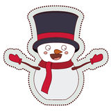 Snowman cartoon of Merry Christmas. Snowman with hat cartoon icon. Merry Christmas season decoration figure theme. Isolated design. Vector illustration Royalty Free Stock Photo