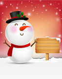 Snowman cartoon smile and blank wooden sign vector illustration Royalty Free Stock Image
