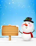 Snowman cartoon smile and blank wooden sign vector illustration Royalty Free Stock Photo