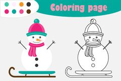 Snowman in cartoon style, christmas coloring page, education paper game for the development of children, kids preschool activity, royalty free illustration