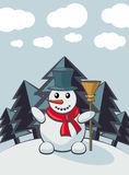 Snowman in cartoon style Royalty Free Stock Photography