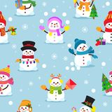 Snowman Cartoon Vector Winter Christmas Character Holiday Merry Xmas Snow Boys And Girls Illustration Seamless Pattern Stock Photography