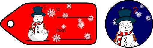 Snowman cartoon xmas giftcard11 Stock Photography