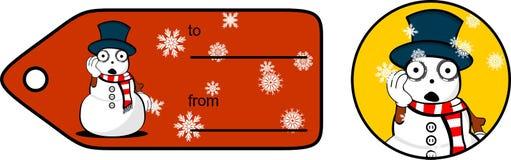 Snowman cartoon xmas giftcard14 Stock Image