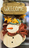 Snowman carved in wood. Royalty Free Stock Photography
