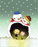 Snowman Cave. Winter is the season of love then couple can show loving to each other Stock Photography