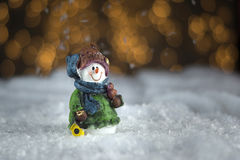 Snowman ceramic figure Stock Photos