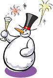 Snowman with champagne. A  illustration of a snowman with a glass of champagne Royalty Free Stock Photo