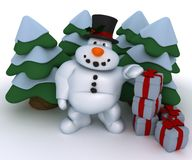 Snowman Character with christmas trees and gifts Royalty Free Stock Photos