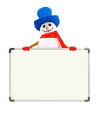 Snowman character with display board Stock Image