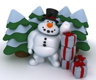 Snowman Character with gifts Royalty Free Stock Photo