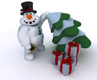 Snowman Character with gifts Royalty Free Stock Image