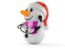 Snowman character holding a telephone handset Royalty Free Stock Images