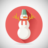 Snowman Character Icon New Year Christmas Symbol. Long shadow on Stylish Background Flat Design Vector Illustration vector illustration