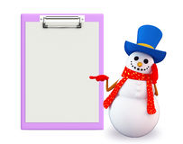 Snowman character with notepad Stock Photos