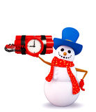 Snowman character with time bomb Stock Images