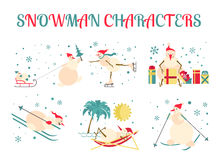 Snowman characters icon set. Flat design Stock Images