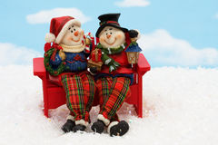 Snowman chatting Royalty Free Stock Photography