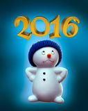 Snowman and 2016 Royalty Free Stock Photography