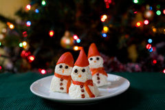 Snowman cheese appetizer Royalty Free Stock Photos