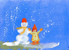 The snowman and the child. At first the child has built the snowman, and has then drawn it Royalty Free Stock Images