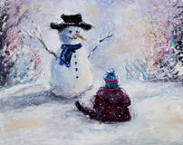 Snowman and child Stock Images