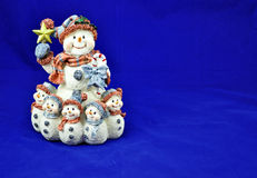 Snowman with children. Snowman with star and children Stock Image