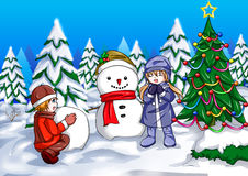 Snowman and Children Royalty Free Stock Photo