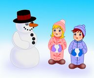 Snowman and Children Stock Images