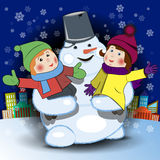 Snowman and Children Royalty Free Stock Images