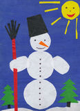 Snowman. Children paper applique. Stock Photos