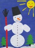 Snowman. Children paper applique. Stock Photos