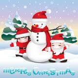 Snowman and children playing on winter scene stock photos